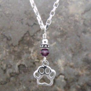 Paw Print Birthstone Pendant Necklace