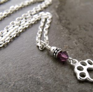 Paw Print Birthstone Pendant Necklace