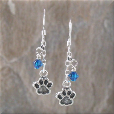 Blue Crystal Sterling Paw Print Earrings