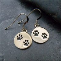 Gold Tone Paw Print Cut Out Earrings