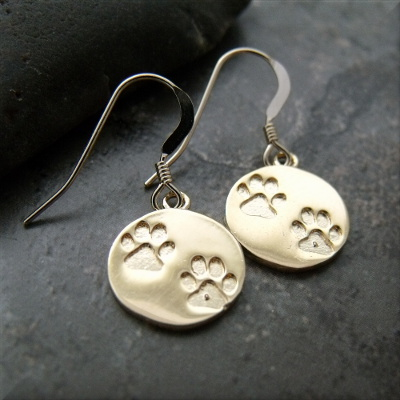 Gold Tone Double Paw Print Earrings
