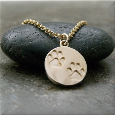 Gold Tone Double Paw Print Necklace