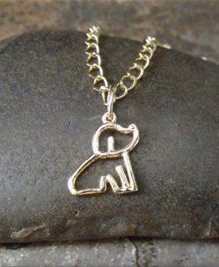 Gold Sitting Dog Charm Necklace