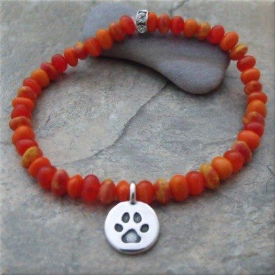 Orange Pawsitive Paws Bracelet