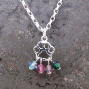 Paw Print Multi-Birthstone Necklace