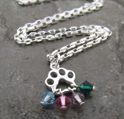 Paw Print Multi-Birthstone Necklace
