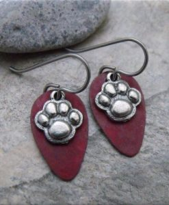 Pewter Paw Prints Red Patina Earrings
