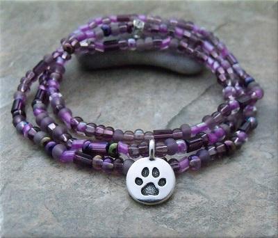 Purple Pawsitive Paws Bracelet