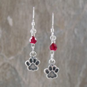 Red Crystal Sterling Paw Print Earrings