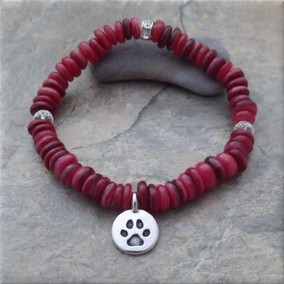 Red Pawsitive Paws Bracelet