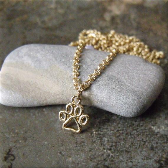 Tiny Gold Tone Paw Print Charm Necklace