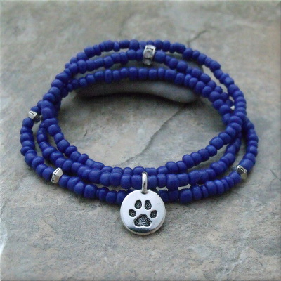 Blue Pawsitive Paws Bracelet
