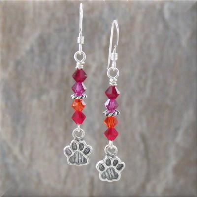Fruity Crystal Paw Print Earrings