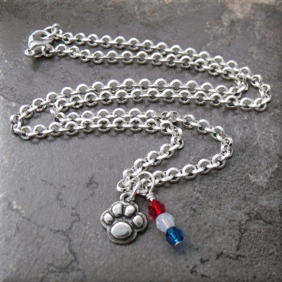 Patriotic Paws Crystal Charm Necklace