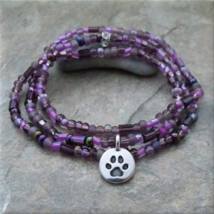 Purple Pawsitive Paws Bracelet