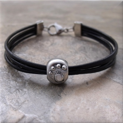 black leather silver paw bead bracelet