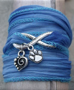 blue infinity paw and heart fabric wrap bracelet