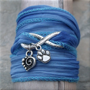 blue infinity paw and heart fabric wrap bracelet