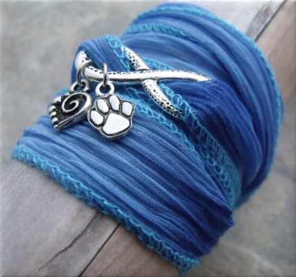 blue infinity paw and heart fabric wrap bracelet3