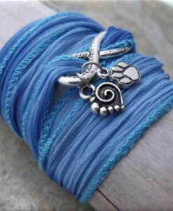 blue infinity paw and heart fabric wrap bracelet4