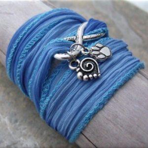 blue infinity paw and heart fabric wrap bracelet4