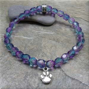 blue pink crystal paw stretch bracelet