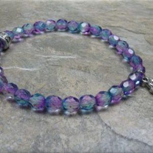 blue pink crystal paw stretch bracelet2
