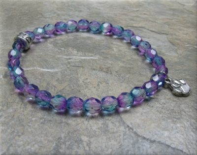 blue pink crystal paw stretch bracelet2