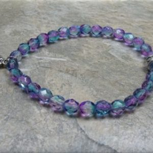 blue pink crystal paw stretch bracelet3