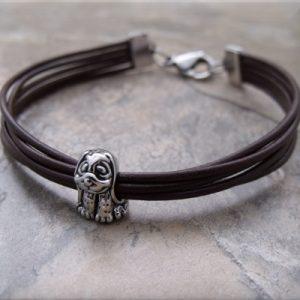 brown leather silver dog bead bracelet