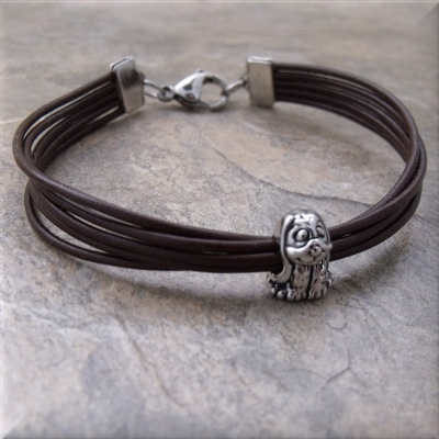 brown leather silver dog bead bracelet
