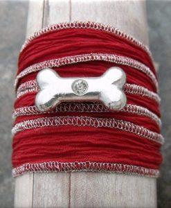 dog bone crystal red fabric wrap bracelet1