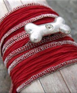 dog bone crystal red fabric wrap bracelet2