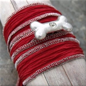 dog bone crystal red fabric wrap bracelet2