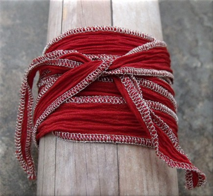 dog bone crystal red fabric wrap bracelet4