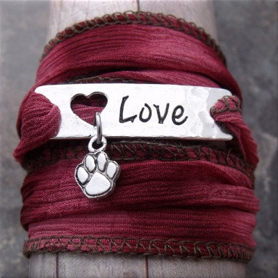 paw love pink fabric wrap bracelet1