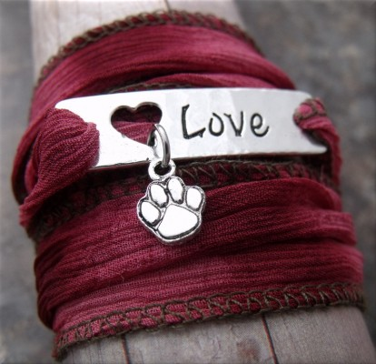 paw love pink fabric wrap bracelet2