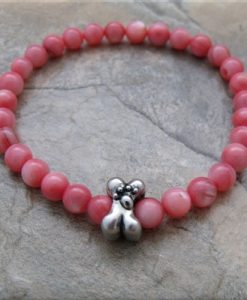 pink shell dog bone stretch bracelet