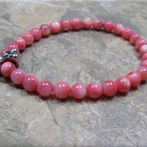 pink shell dog bone stretch bracelet3
