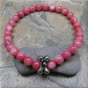 pink shell dog bone stretch bracelet4