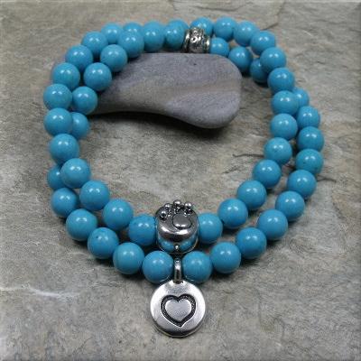 turquoise paw heart bracelet1