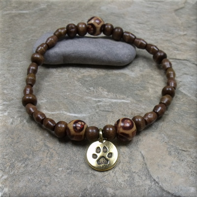 Wood bead gold paw charm bracelet
