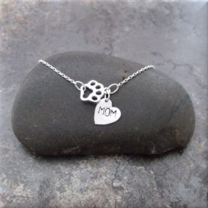 paw mom sterling necklace