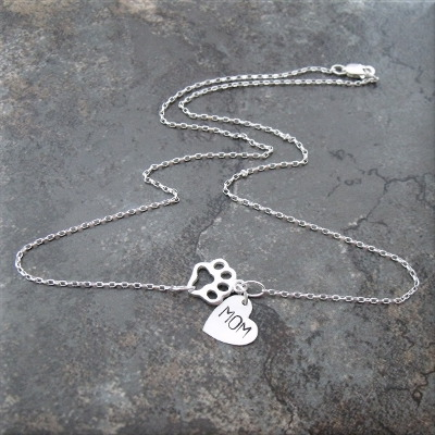paw mom sterling necklace2