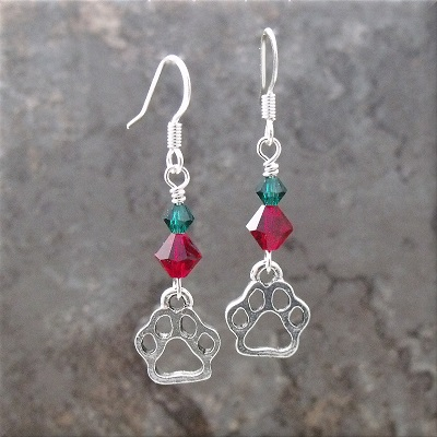 christmasredgreenopenpawcharmearrings