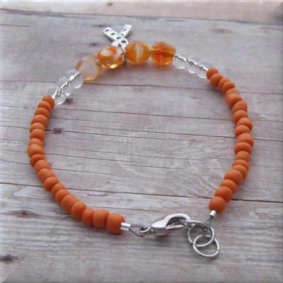 Orange Animal Awareness Paw Print Ribbon Bracelet Paw