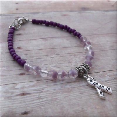 Purple Animal Awareness Paw Print Ribbon Bracelet Paw
